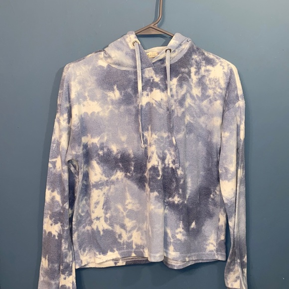 Pink republic blue and white tiedye cropped hoodie
